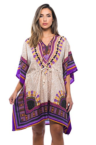 Riviera Sun 21753-CRM-S-M Short Dashiki Caftan/Caftans for Women
