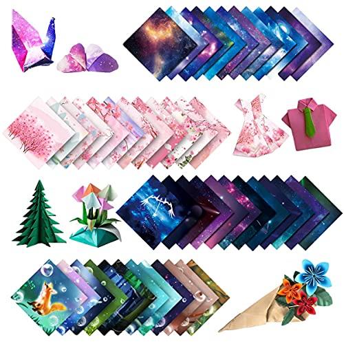 200 piezas de papel de origami de colores, doce constelaciones, animal lindo, lluvia de flores, cielo estrellado, para proyectos de arte y manualidades (15 x 15)