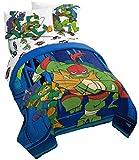 Jay Franco Nickelodeon Teenage Mutant Ninja Turtles Night Run 4 Piece Twin Bed Set - Bedding Features Donatello, Leonardo, Michelangelo, and Raphael - (Official Nickelodeon Product)