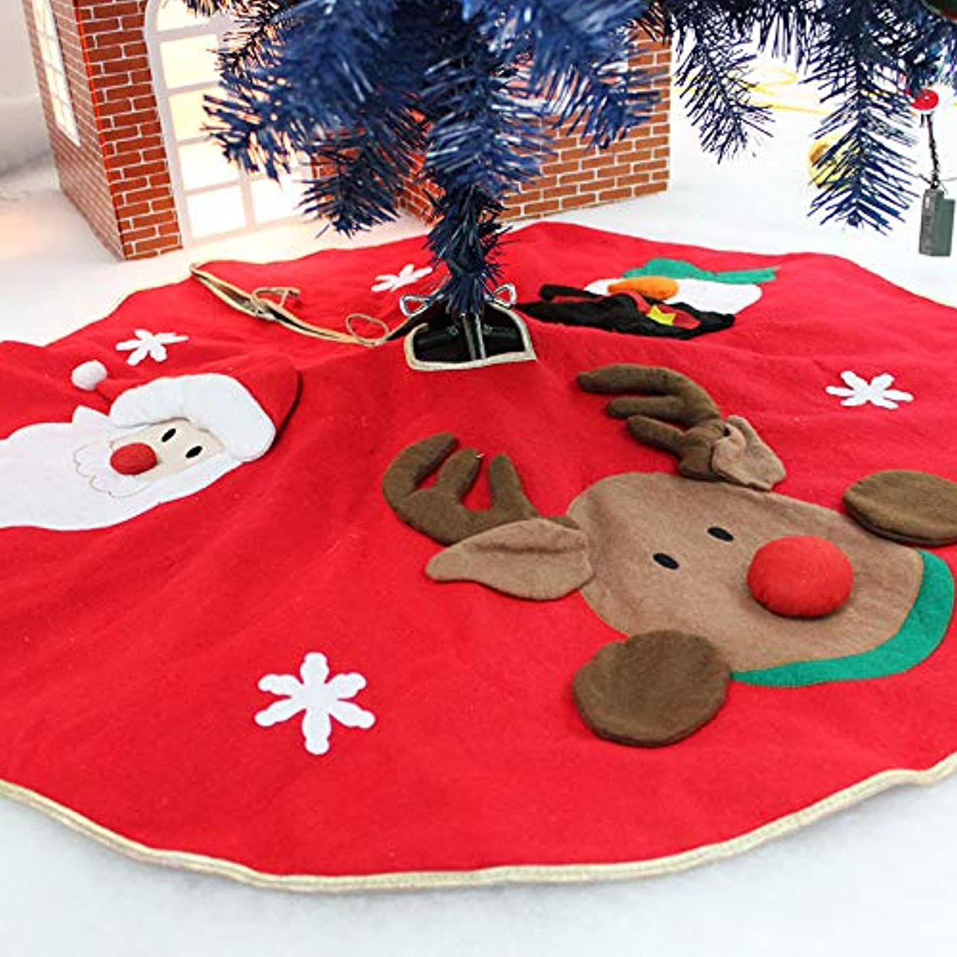 Amerzam Christmas Tree Skirt Mat Christmas Holiday Party Decoration (RED)