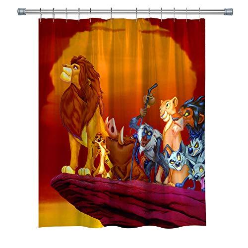 summer007 The King Lion Duschvorhang, Kinder-Baddekor, Stoff-Duschvorhang, Heim-Kinder-Badezimmerzubehör mit Haken, 180,3 x 180,3 cm