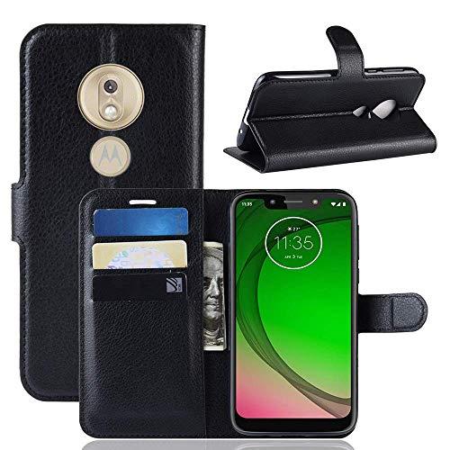 Capa Capinha Carteira Case 360 Para Motorola Moto G7 Play Com Tela De 5.7 Couro Sintético Flip Wallet Para Cartão - Danet (Preto)