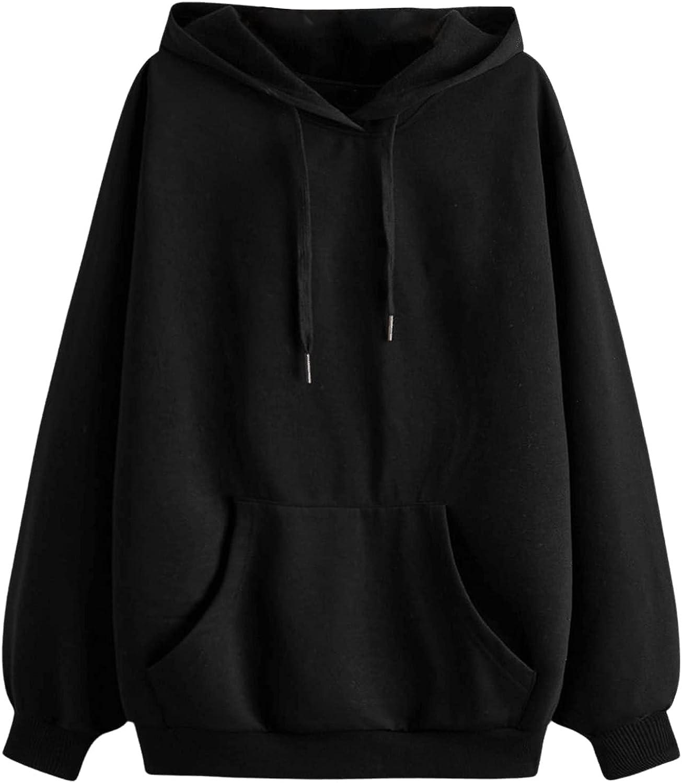 SheIn Women's Long Sleeve Drop Shoulder Drawstring Pullover Hoodies Sweatshirt