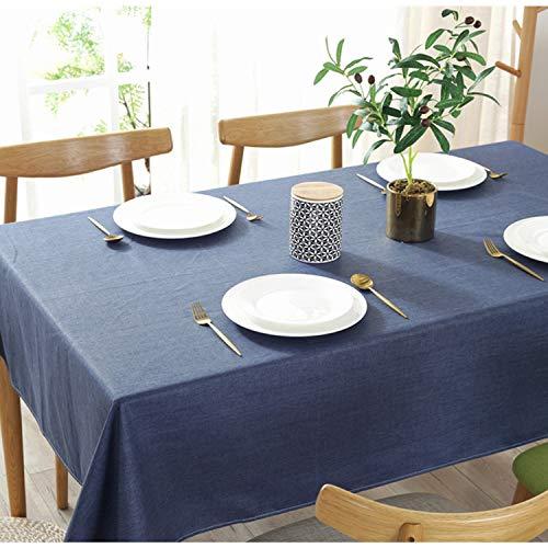 テーブルクロス 綿麻 コットン 厚手 シンプル ダイニング キッチン 装飾用 120x120cm ネイビー