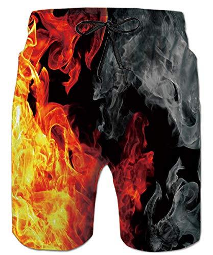 ALISISTER Bañadores Hombre Novedad 3D Galaxia Fuego Gráfico Pantalones Corto Verano Casual Deportes Secado Rápido Board Shorts XXL