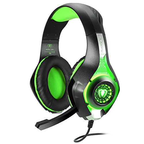 BlueFire Cascos Gaming, Auriculares Gaming PS4 con Micrófono Mac Estéreo Juego Gaming Jack 3,5mm LED Bajo Ruido Compatible con PC/Xbox One/Móvil (Verde)