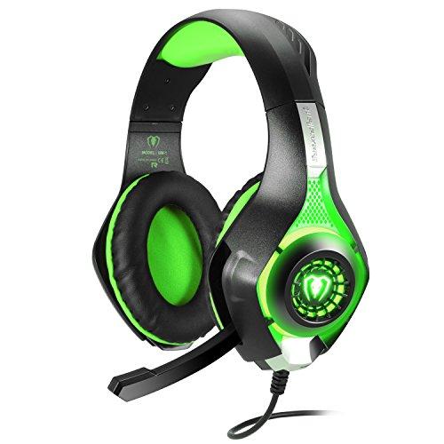 Samoleus Gaming Headset für PS4 PC Xbox One, 3.5 mm Stereo Gaming LED Licht Over Ear Kopfhörer mit Mikrofon für Computer Mac Nintendo Switch Tablet mit Noise Cancelling & Lautstärkeregelung (Grün)
