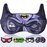 Sleep Mask for Women Men Children Kids - Sleeping mask 100% Soft Cotton - Comfortable Eye Sleeping Mask Night Cover Blindfoldfor Travel Airplane (Batman Black, Plastic Pack)
