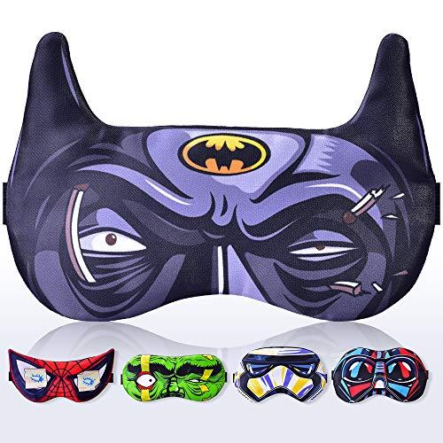 Slaap Masker voor Vrouwen Mannen Kinderen Kinderen Kinderen - Slaapmasker 100% Zacht Katoen - Comfortabel Oog Slapen Masker Night Cover Blindfold voor Reizen Vliegtuig Plastic Pack Batman Zwart