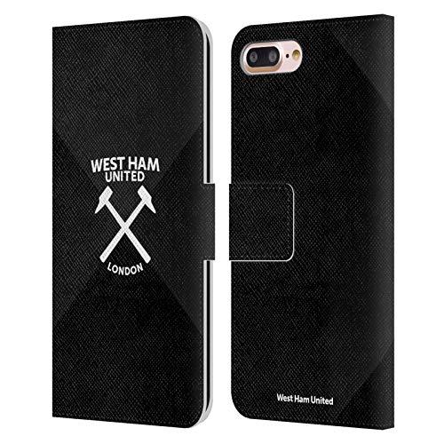Head Case Designs Oficial West Ham United FC Degradado Blanco y Negro Marque Kit Marque Martillo Carcasa de Cuero Tipo Libro Compatible con Apple iPhone 7 Plus/iPhone 8 Plus