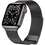 JuQBanke Magnetic Band Compatible with Apple Watch 42mm 44mm 45mm, Stainless Steel Mesh Milanese Strap with Adjustable Loop, Metal Wristband for iWatch SE Series 7 6 5 4 3 2 1 for Women Men, Black