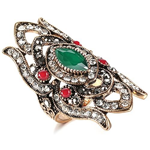 Ezzyso Anillo de Diamante Completo de Gema, Estadounidense Estilo étnico Estilo Femenino Personalidad Anillo de aleación joyería (2 Piezas),Verde,7