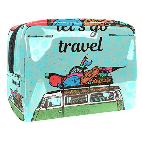 TIZORAX Travel Bus Met Bagage Cosmetische Tassen PVC Make-up Tas Reizen Toiletten Handige Organizer Zak voor Vrouwen