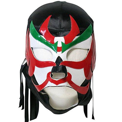 【プロレスマスク】東北の英雄 ザ・グレート・サスケ セミレプリカマスク ブラックサテン×眉グリーン ルチャリブレ プロレス