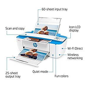 HP DeskJet 3755 Compact All-in-One Wireless Printer, HP Instant Ink, Works with Alexa – Blue Accent (J9V90A)