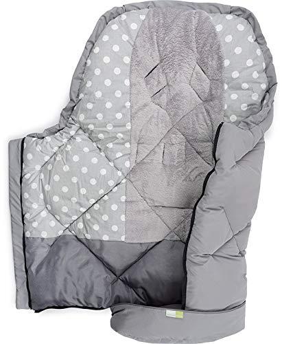 PRIEBES JENS Universal Winter-Fußsack für Kinderwagen & Buggy/Länge 100 cm/komplett abnehmbares Fußteil/Mumienform/atmungsaktiv, Design:polka grau