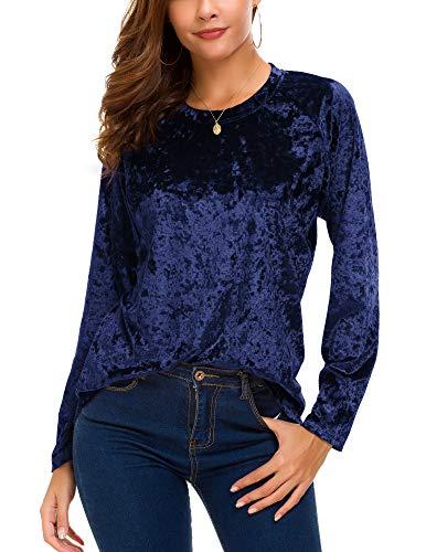 Women's Vintage Velvet T-Shirt Casual Long Sleeve Top (S, Navy Blue)