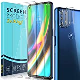 Zeking [6 Pack] 3 Pack Screen Protector + 3 Pack Camera Lens Protector for Motorola Moto G9 Plus Tempered Glass, HD Clear [Case Friendly] 9H Hardness