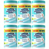 Disinfecting Wipes By Clean Cut, Fresh Scent, Value Size (1,200 total wipes) Antibacterial - Sanitizing - Cleaning, 200 Count (Pack of 6)