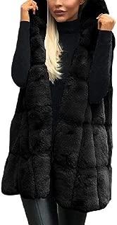 Mogogo Womens Hoodie Waistcoat Sleeveless Fluffy Faux Fur Parka Outerwear Black XL