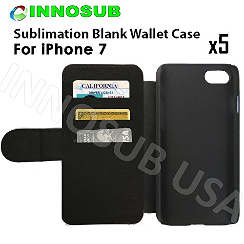 5X innosub Sublimation Blank Wallet Flip Cases for Apple iPhone 7 Plus-for dye Sublimation Phone Cover/Blank Printable case, Made by INNOSUB USA