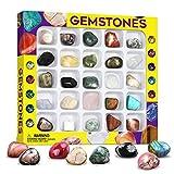 Dr. Daz Colección de gemas minerales de roca para niños, 25 piedras preciosas incluidas