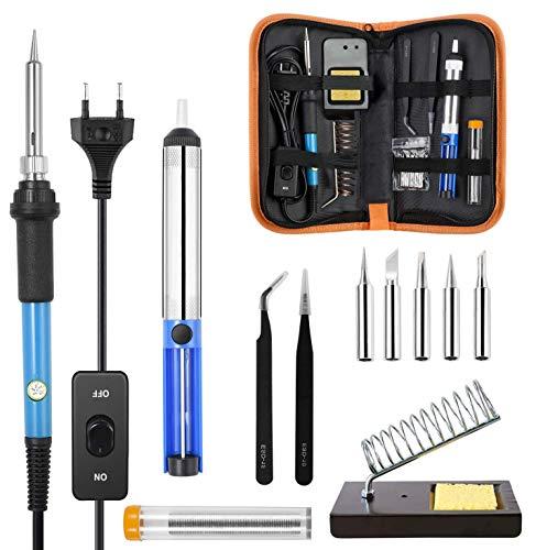 Kit de Soldador, PITCH PULSE Soldador de Temperatura Ajustable con Interruptor de ENCENDIDO/APAGADO, Kit de Soldador Eléctrico 12 en 1 de 60W con Bolsa de Herramientas