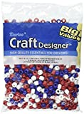 Darice Pony Beads 6 by 9mm 720/Pkg, Red/White/Blue