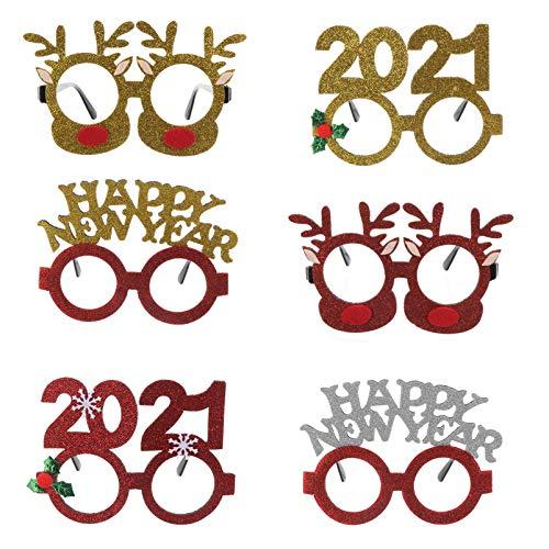 """KESYOO 6Pcs 2021 Ã""""culos de Feliz Ano Novo para Festa de Natal Ã""""culos de Sol Com Brilho de Rena para Fotos Adereço de Festa de Véspera de Ano Novo (Estilo Misto)"""