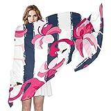 QMIN - Bufanda de seda, diseño de flamencos, diseño de rayas, para mujer, chal ligero