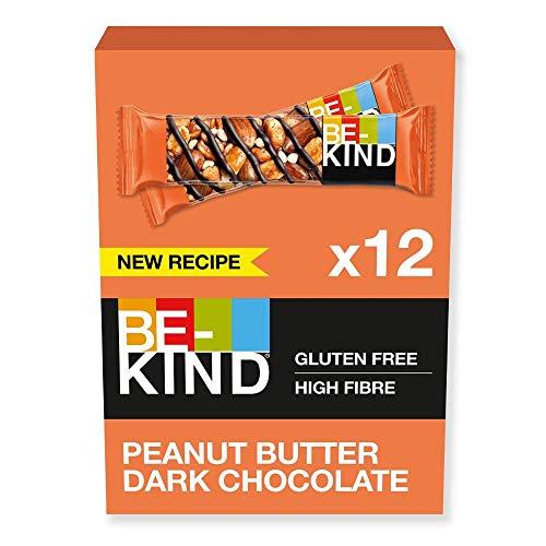 BE-KIND Peanut Butter Dark Chocolate – Barres d'amandes nappées au beurre de cacahuète sans gluten – Pack de 12 barres