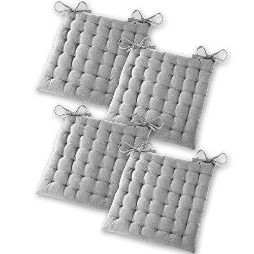 Gräfenstayn® 4er-Set Baumwoll-Sitzkissen 40x40x5cm mit Haltebändern für Indoor und Outdoor mit Öko-Tex Siegel - (Grau)
