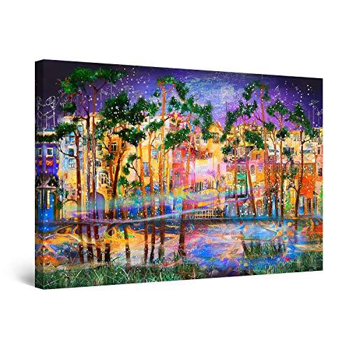 Startonight Cuadro Moderno en Lienzo - Árboles Exóticos en el Lago - Pintura Púrpura Para Salon Decoración Grande 80 x 120 cm