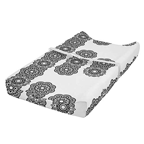 ABAKUHAUS oriental Cubierta del cambiador, patrón de mandala, Funda blanda para el cambiador de pañales con agujeros para la hebilla de seguridad, Blanco negro