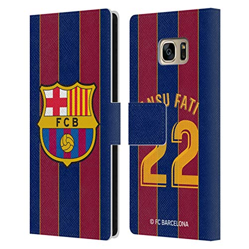 Head Case Designs Licenciado Oficialmente FC Barcelona Ansu Fati 2020/21 Players Home Kit Group 1 Carcasa de Cuero Tipo Libro Compatible con Samsung Galaxy S7 Edge