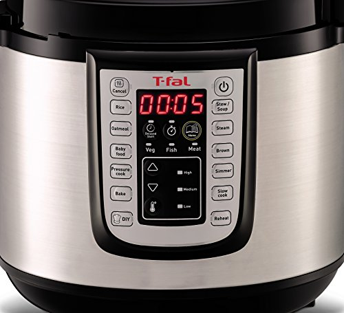T-Fal CY505E51 Rapid Pro 12-in-1 Cooking Programs Electric Pressure Cooker, Slow Cooker, steam, Bake, Risotto, Soup, Rice Cook, Keep Warm Function, 6-Quart, Stainless Steel/Black