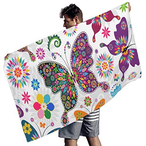Perstonnoli Toalla de playa de microfibra con diseño de mariposas, flores, absorbente, para playa, picnic, playa, yoga, rectangular, 150 x 75 cm, color blanco
