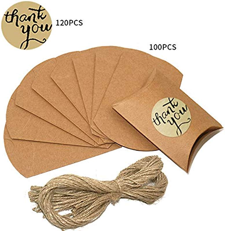 100 Pcs Kraft Pillow Box With Rope 120Pcs Thank You Stickers For Candy Treat Gift Wrap Box Party Favor