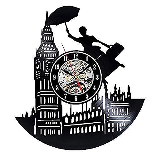 Reloj de pared de vinilo retro de la ciudad de Londres, diseño moderno, decoración 3D, con texto en inglés 'I Love London', reloj de pared para decoración del hogar