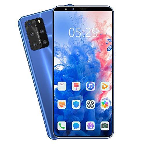 "Smartphone 5,5""Ultradünne Android7.0 Quad-Core 1GB + 4GB GSM WiFi Dual-SIM-Dual-Kamera TF Card Slots intelligentes Mobiltelefon 5G (Blau)"