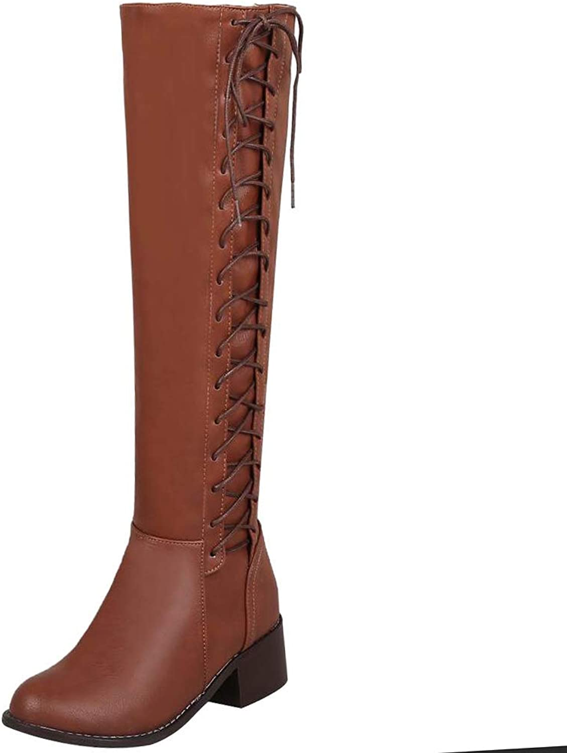 Unm Women's Fashion Low Heels Knee High Boots Zipper