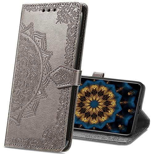 MRSTER Motorola One Hyper Hülle, Premium Leder Tasche Flip Wallet Hülle [Standfunktion] [Kartenfächern] PU-Leder Schutzhülle Brieftasche Handyhülle für Motorola One Hyper. SD Mandala Gray