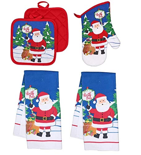 Collection Christmas Kitchen Towel Set 5 Piece 2 Pot Holders & 2 Towels with 1 Oven Mitt (Santa Claus)