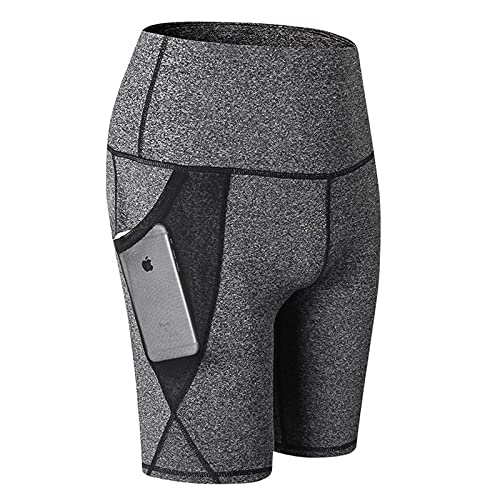 Huntrly Pantalones de Yoga de Cintura Alta para Mujer, Bolsillos de Malla, Entrenamiento Deportivo, Pantalones Cortos de Fitness elásticos Ajustados de Secado rápido M