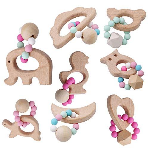 good01 Hölzerne Tierförmige Beißringe, Armband-Silikon-perlenbesetzte Babyrassel-Kinderkrankheiten-Spielzeug-Beißringe Bär#