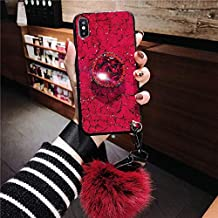 Twinlight Glitter Epoxy Holder Phone Case for iPhone XR XS MAX X 8 7 Plus Cases with Real Fox Fur Ball Coque for iPhone XR XS MAX X 8 (for iPhone XR)