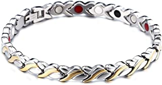 Dragon Grain Design Gold Silver Titanium Steel Magnetic Therapy Health Link Bracelet Men Women (with size adjustment tool)
