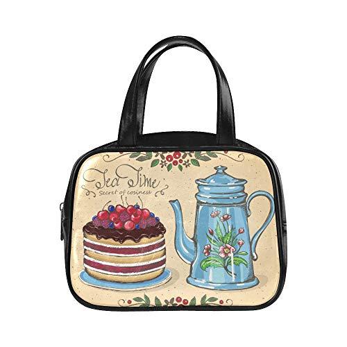 UGDFJYV Männer Handtasche Tee Zeit Beere Kuchen Teekanne Einkaufstasche Reißverschlusstasche Handtasche Frauen Pu Leder Top Griff Schulranzen Handtasche Reisen