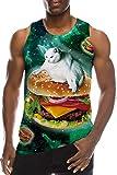 Mens Hamburger Cat Tank Top 80s 90s Boys Green Galaxy Nebula Sleeveless Shirt for Youth Novelty White Kitty Patterns T-Shirts Bro Fashion Crewneck Slim Fit Ringer Beach Holiday Tees Summer Clothes, S