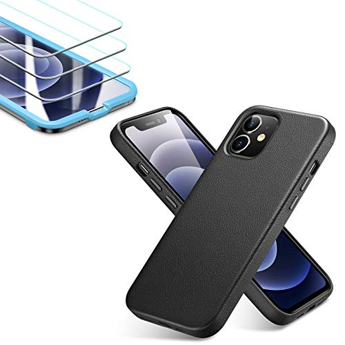 ESR Premium Real Leather Black Case for iPhone 12 Mini + [3-Pack] ESR Tempered-Glass Screen Protector for iPhone 12 Mini